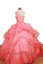 One Shoulder Watermelon Red Pageant Dresses Layer Clasp