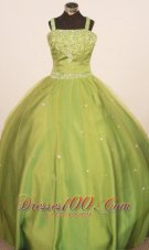 Beaded Olive Green Pageant Dresses Straps Custom Color