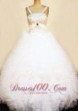 Corset Straps Beaded White Pageant Dresses Ruffles Sash