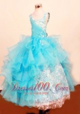 Unique Scoop Sequin Baby Blue Pageant Dresses Ruffled