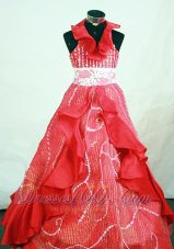 Special Halter Pageant Dresses Dark Red Beaded for Junior