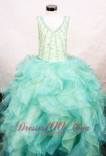 Ruffles V-neck Aqua Green Pageant Ball Gown for Teens