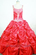 Embroidery Coral Red Pageant Dresses Pick-up Strap for Girl