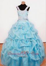 Bowknot Aqua Blue Ball Gown Straps Dotted for Pageants