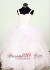 Handle Flowers Light Pink Pageant Gowns Crystal Straps