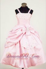 Bowknot Straps Baby Pink Little Girl Pageant Dresses Bead