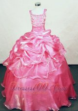 Appliques Straps Rose pink Sweet Fifteen Gowns Beading