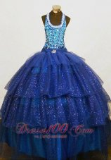 Sequined Beading Halter Dark Blue Pageant Birthday Gowns