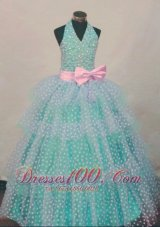 Bowknot Dotted Green Pageant Ball Gowns Halter for Girl