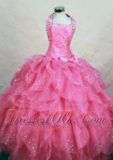 Halter Cascading Ruffles Pageant Dresses Hot Pink Beading