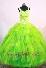 Straps Pick up Bright Green Pageant Dresses Tulle Beaded