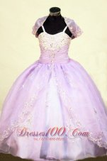 Beading Straps Lilac Junior Pageant Ball Gown with Jacket