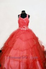 Flamingo Red Pageant Dresses Beading Straps Appliques Bead