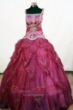 Heavy Beading Square Fuchsia Pageant Ball Gowns Tulle