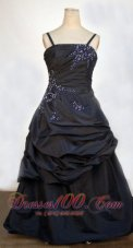 Gather Navy Blue Straps Pageant Dresses Beading Ruching