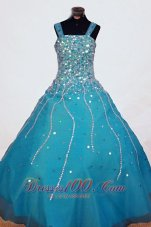 Heavy Beading Straps Pageant Dresses Teal for Little Girl