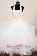 Beading Sweet Bowknot White Little Girl Pageant Gowns
