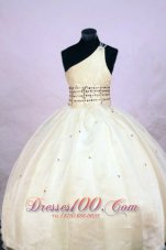 One Shoulder LIL Girl Pageant DressesOrganza Yellow Beading