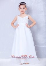 Little Girl Dress White A-line V-neck Beading With Straps
