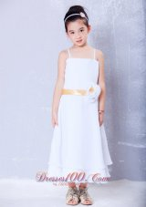 Infant Pageant Dresses Yellow Straps Ankle-length Chiffon