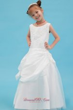 White Little Girl Dresses Beading and Applqiues