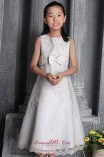 Beading Organza Flower Little Girl Dress White