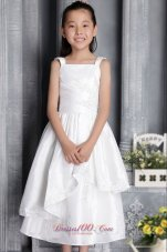 Square Straps Flower Girl Dress With Appliques