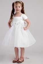 Organza Hand Made Flowers Square Little Girl Dress