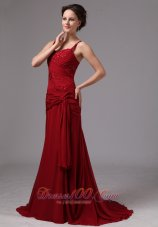 Spaghetti Straps Appliques Wine Red Mother Dress Beaded
