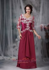 Red Appliques Wedding Mother Of Bride Dress Chiffon