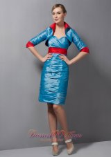 Sweetheart Ruched Teal Mother Of Bride Dress Taffeta