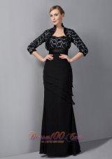 Black Appliques Chiffon Sash Mother Of The Bride Dress