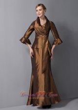 Ankle-length V-neck Brown Mother Dress with Jacket