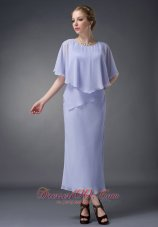 Ankle-length Lilac Scoop Chiffon Mother Of The Bride Dress