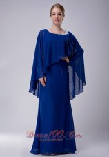 Poncho Chiffon Appliques Royal Scoop Mother Dress