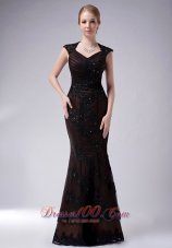 Taffeta V-neck Appliques Brown Mother Of The Bride Dress