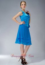 Sky Blue Empire V-neck Mother Of The Dress Knee-length
