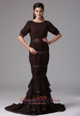 Brown Mermaid Scoop Ruffled Layeres Mother Of The Dress
