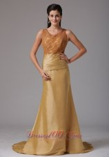 Gold Scoop Ruch and Lace Prom Gown