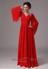 Red Long Sleeves Appliques Dama Dresses for Quince