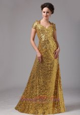 Gold Paillette Over Skirt Cap Sleeves Prom Dress