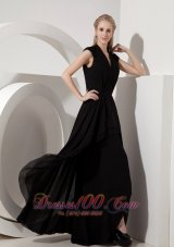 Black Evening Dress Column V-neck Chiffon