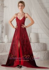 Red Spaghetti Straps Printing Mother Of The Dress