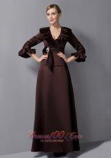 Brown Mother-in-law Dresses V-neck Sash Ankle-length