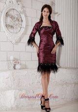 Burgundy Mother-in-law Dresses Rhinestones Knee-length