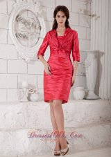 Coral Red Mother-in-law Dresses Ruch Knee-length