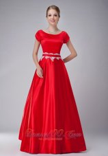 Red A-line Scoop Mother-in-law Dresses Taffeta