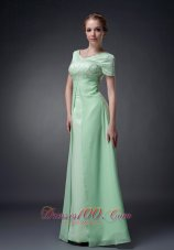 Apple Green A-line V-neck Motb Dress Chiffon Beading