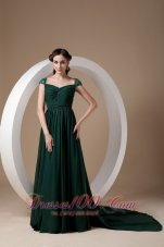 Dark Green Empire Evening Dress Square Chiffon Beading