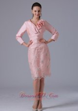Baby Pink Long Sleeves Mom's Dress Knee-length